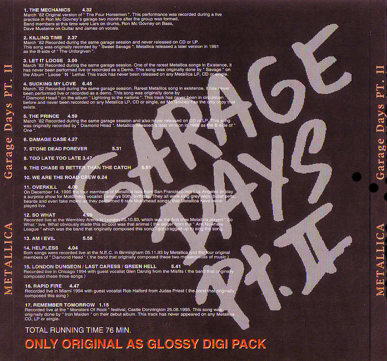Metallica Garage Inc Songs
