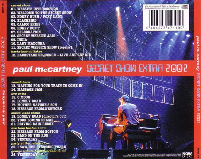 Paul Mccartney Secret Show Extra 2002 1cd Giginjapan