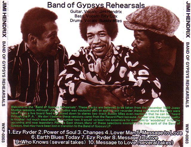Jimi Hendrix / Band Of Gypsys Rehearsals / 1CD