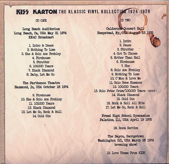 Kiss Karton The Klassic Vinyl Kollection 1974 1978