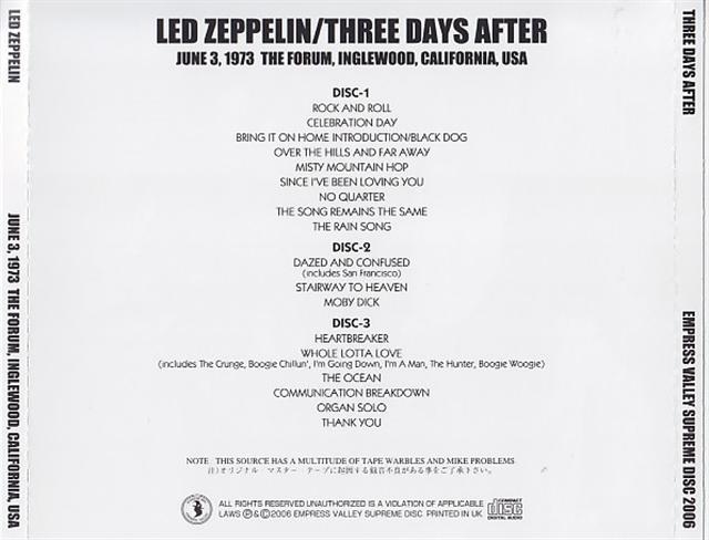 Led Zeppelin / Three Days After / 3CD – GiGinJapan