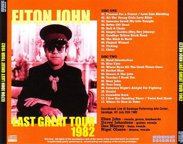 Elton John Last Great Tour 1982 2cdr Giginjapan
