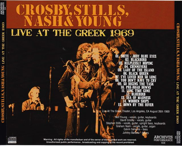 Crosby Stills Nash Amp Young Live At The Greek 1969 1cdr