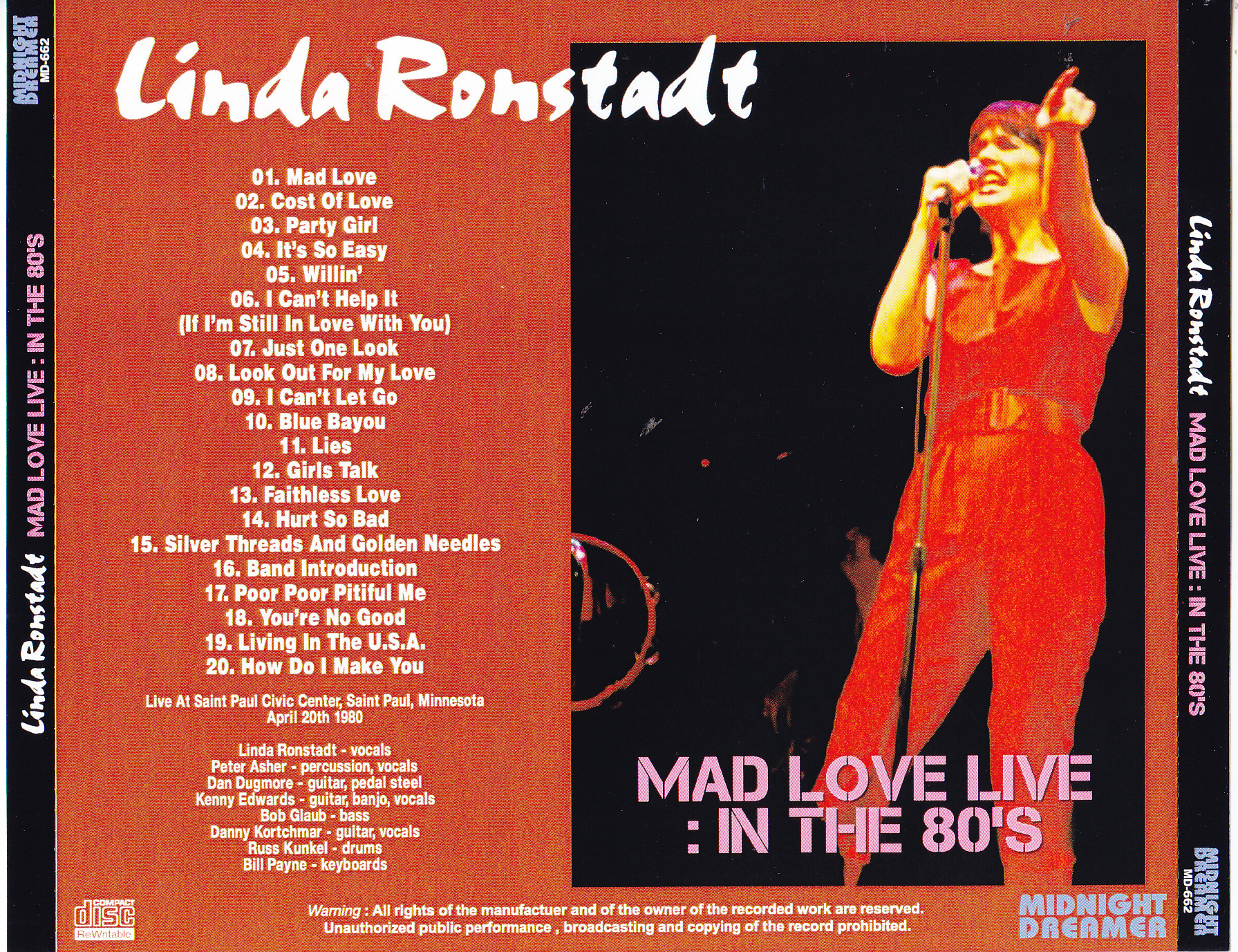 Linda Ronstadt Mad Love Live In The 80s 1cdr Giginjapan