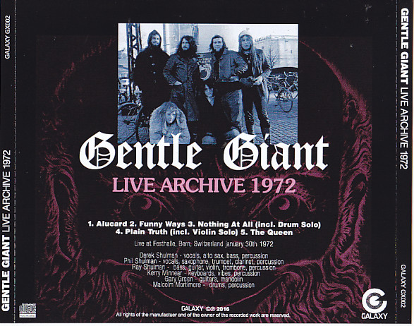 Gentle Giant Live Archive 1972 1cdr Giginjapan