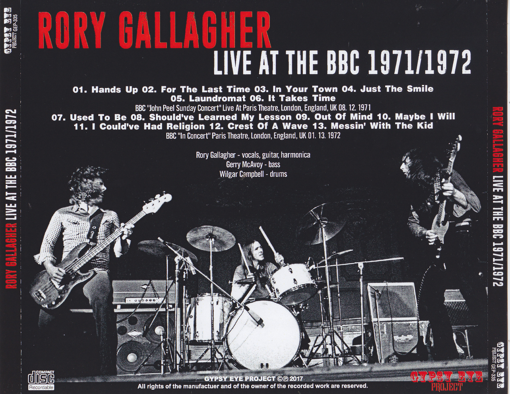 Rory Gallagher Live At The Bbc 1971 1972 1cdr Giginjapan