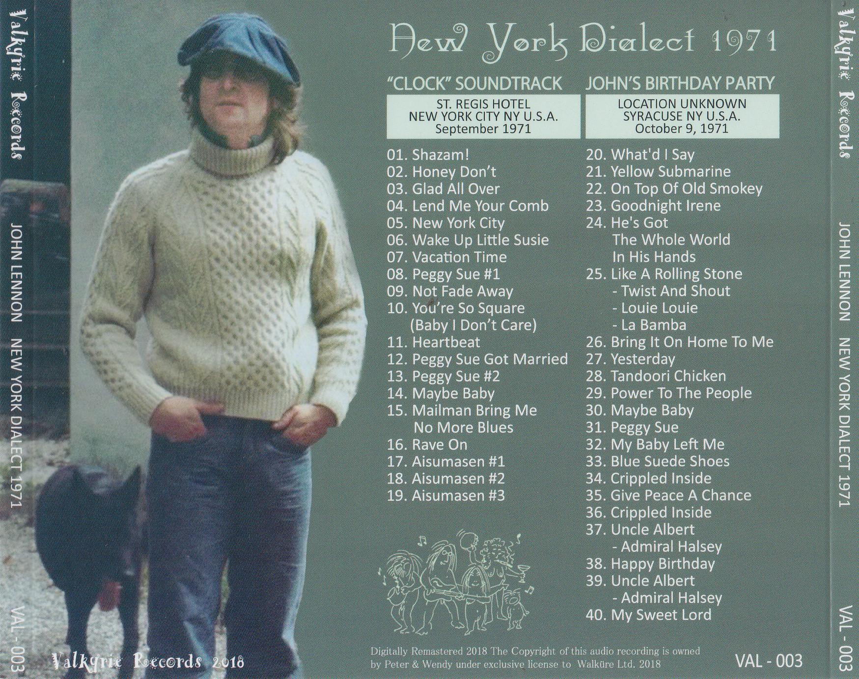John Lennon / New York Dialect 1971 / 1CD