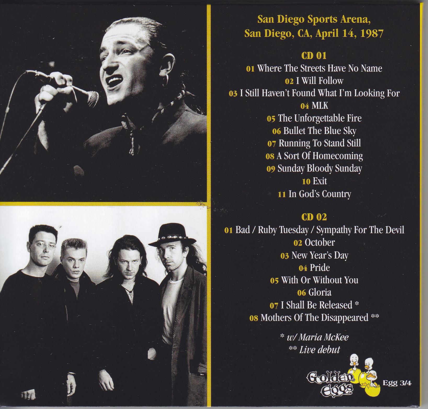 U2 / The Greatest Gift Is Gold San Diego 1987/ 2CD Digipak