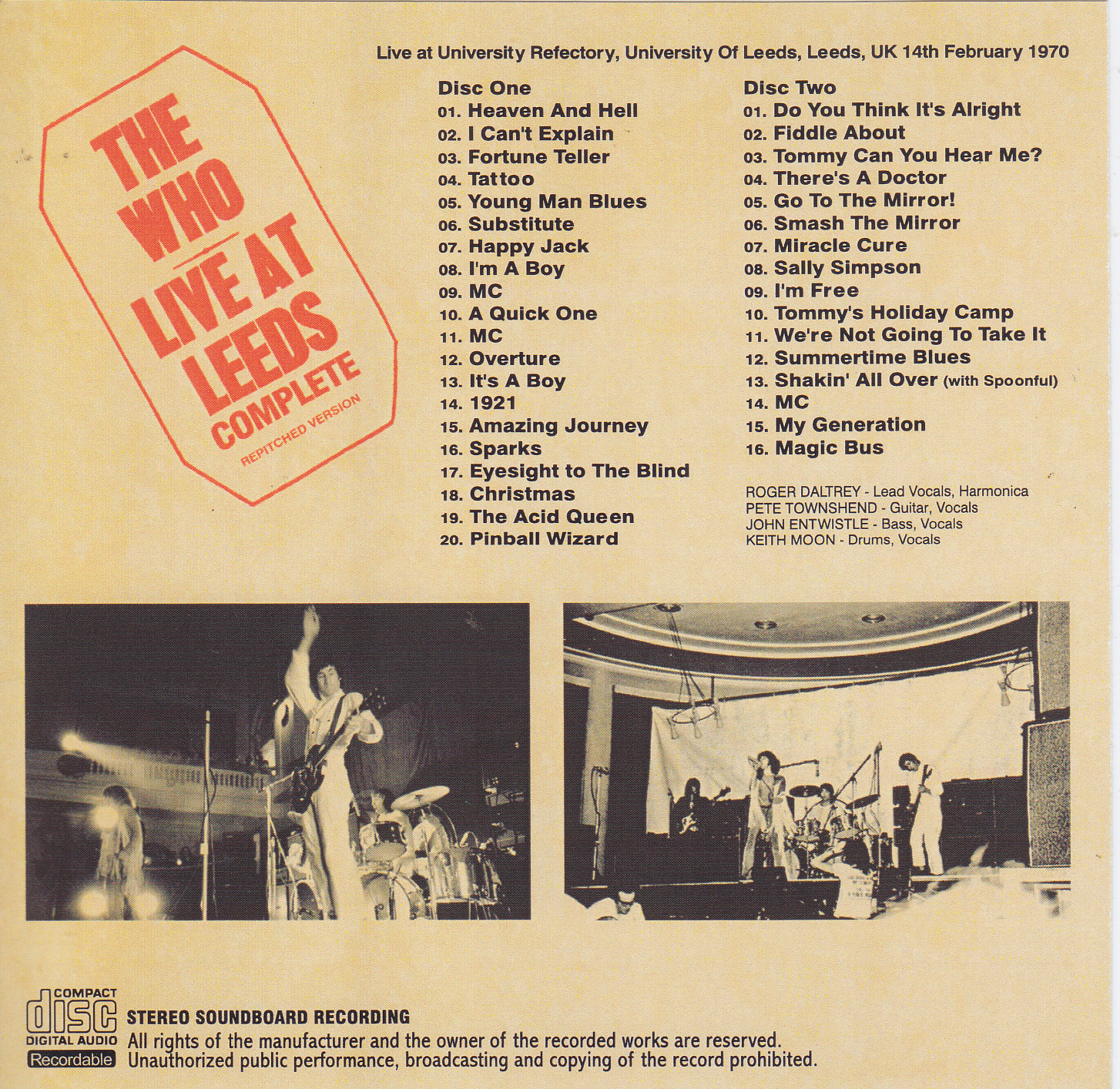 Who / Live At Leeds Complete Repitched Version / 2CDR – GiGinJapan