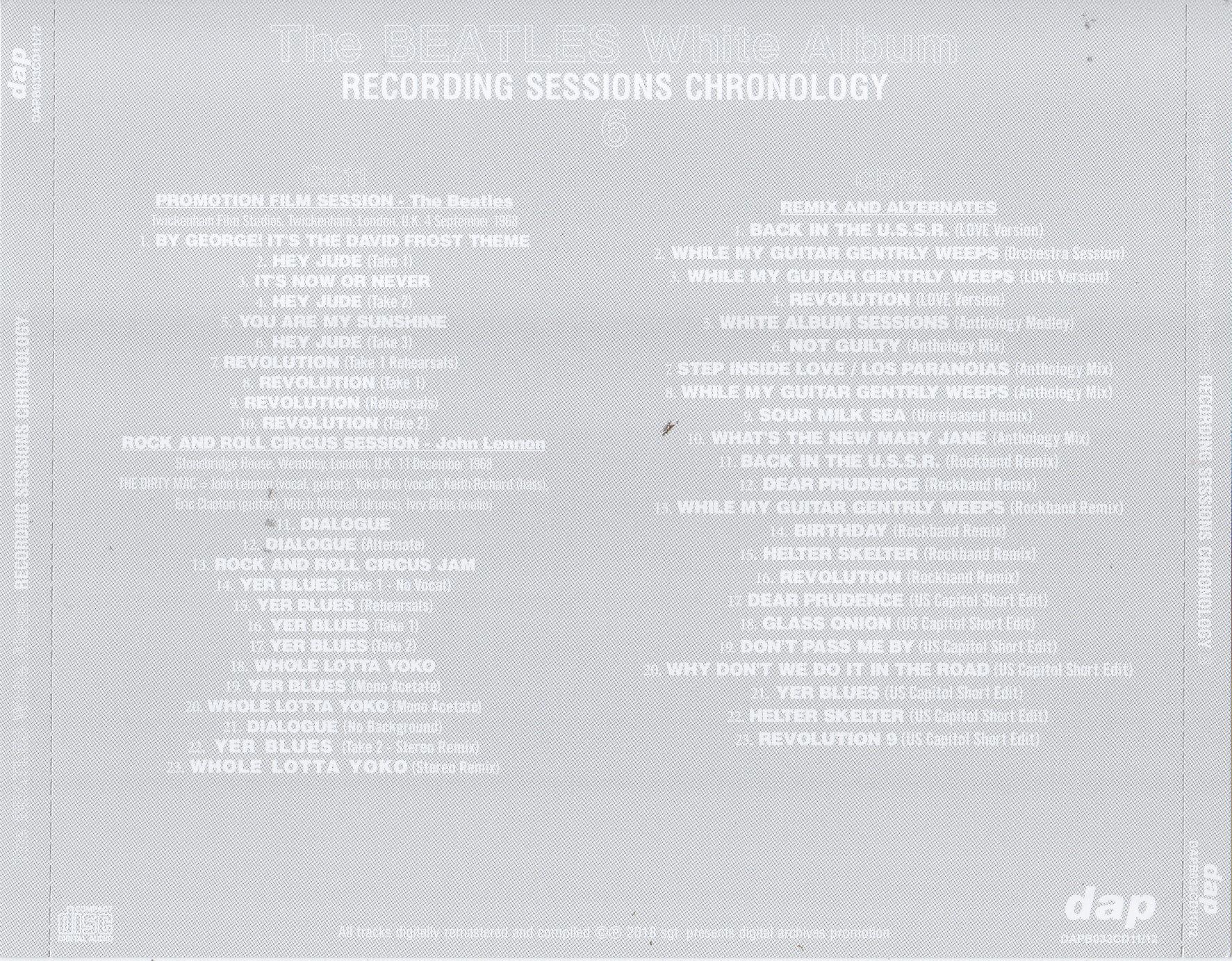 Beatles / White Album Recording Sessions Chronology / 12CD