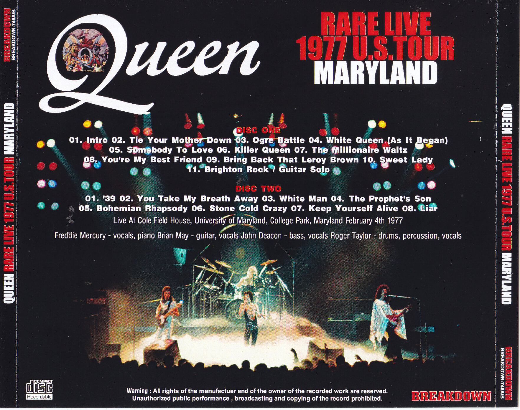 Queen Rare Live 1977 Us Tour 1cdr Giginjapan