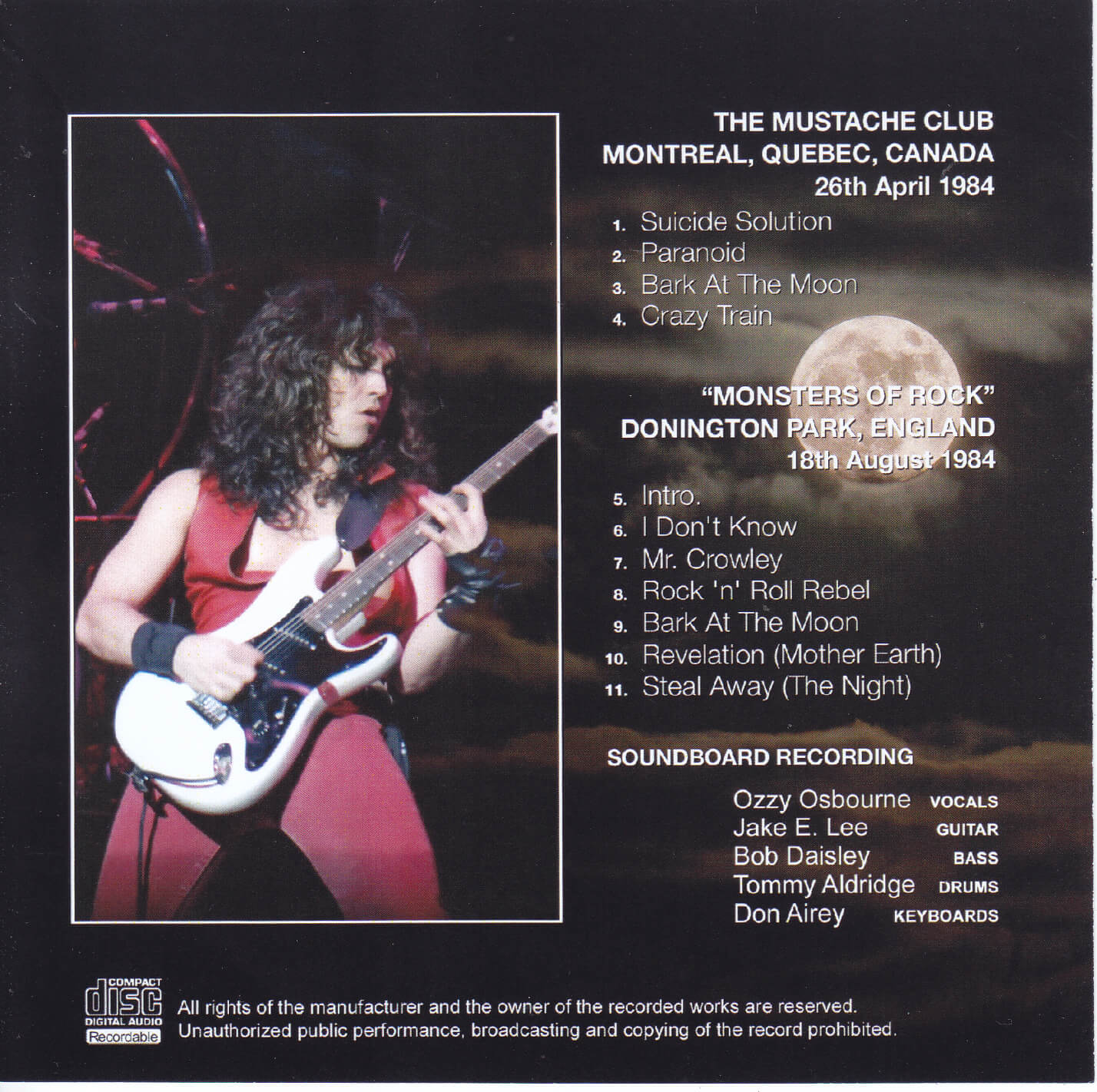 Ozzy Osbourne Digital Guitar /& Bass Tab BARK AT THE MOON Lessons Disc Jake E Lee